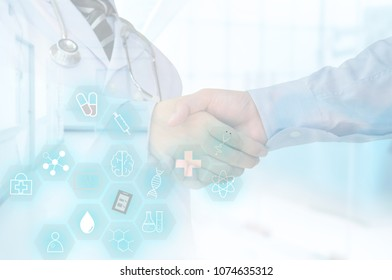 medical technology background. medical icons in science hexagon with doctor handshake patient in hospital.