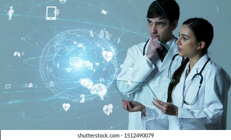Medical technology concept. Couple of doctor.