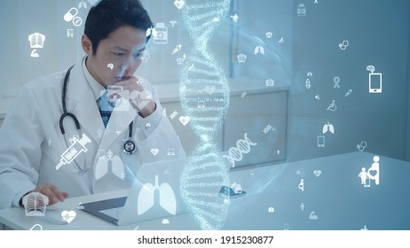 Medical technology concept. DNA. Gene therapy.