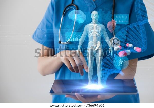 Konzept der Medizintechnik. Elektronische Krankenakte