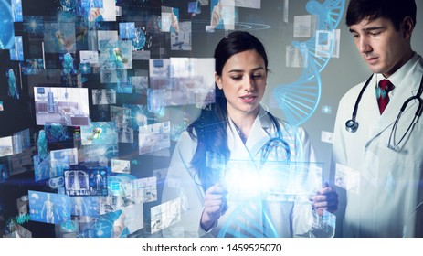 Medical technology concept. Gene therapy. Electronic medical record.
