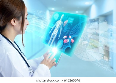 medical technology concept. young female doctor holding digital tablet. Internet of Things. Information Communication Technology.