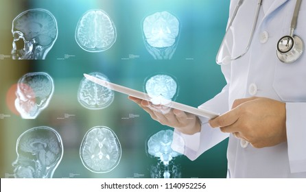 medical technology and medicine science innovation concept. doctor check up brain of patient from digital tablet.