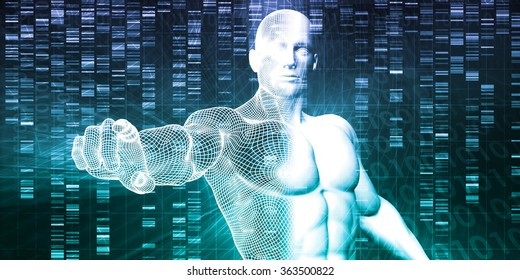 Medical Technology with Scientist Engineer on DNA Background