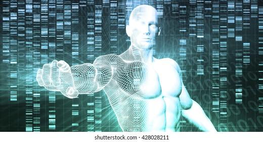 Medical Technology with Scientist Engineer on DNA Background 3D Illustration Render