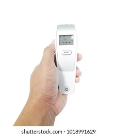 Medical technology Thermometer Measure body temperature in hand human isolated on white background
