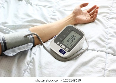 Medical tonometer for measuring blood pressure of male patient, Healthy concept