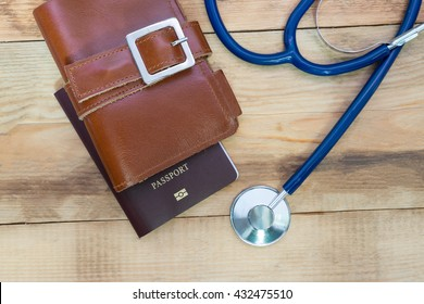 Medical tourism concept. Stethoscope with passport.