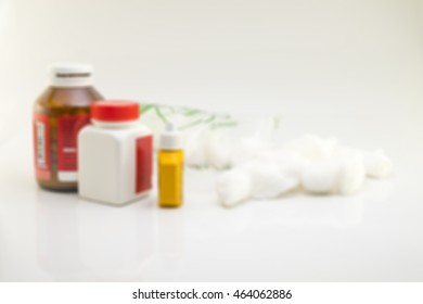 Medical treatment and pharmacy on white background,Image is blurry style.