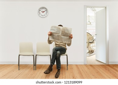 medical waiting room with a seated person reading newspaper