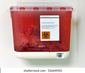 Medical waste container attached to wall.