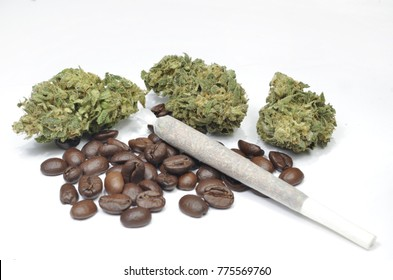 Medical weed on white background with coffee beans and joint