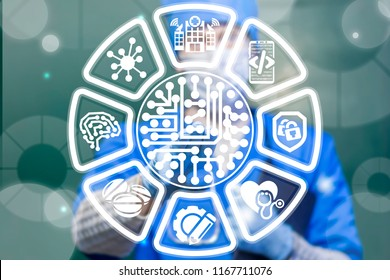Medical worker clicks a micro chip button on a virtual interface. Circuit board health care information innovative technology. Smart medicine nano microchips concept.