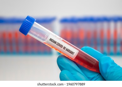 A medical Worker holding a centrifuge tubes with graduated marks with a Covid-19 Indian variant virus sample. Concept: Lineage B.1.617, Double mutation