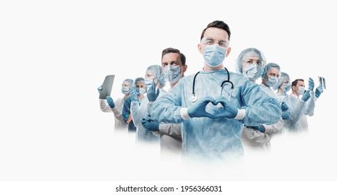medizinische Helden. eine Krankenschwester im Vordergrund in einer Maske und Uniform hält ihre Hände in Form eines Herzens. gehen Sie zu vielen medizinischen Fachkräften.