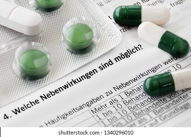 Medicaments and German package insert adverse effects