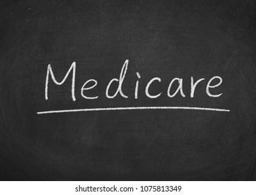 medicare concept word on a blackboard background