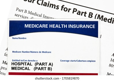 Medicare health insurance card with claims statement isolated on white