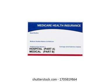 Medicare health insurance card isolated on white