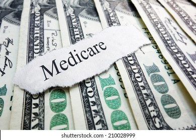 Medicare newspaper headline on assorted money