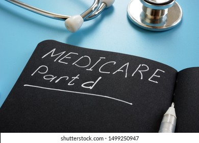 Medicare part d sign on the black page and stethoscope.