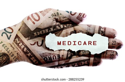 Medicare text on a paper scrap over world currency