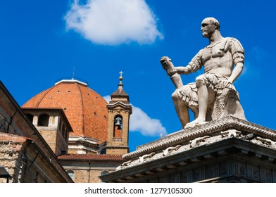 Medici Chapels (Cappelle medicee) and Giovanni de' Medici Statue (also known as Giovanni dalle Bande Nere), Firenze, UNESCO World Heritage site, Tuscany, Italy
