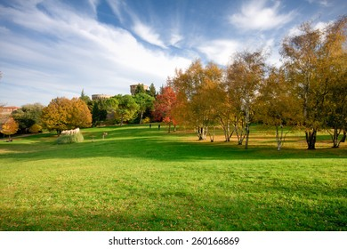 Medici fortress with the park in Volterra in Tuscany in the autumn season.