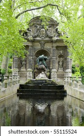 the Medici Fountain La fontaine Medicis in Luxembourg Gardens Paris France with sculptures of the giant Polyphemus surprising the lovers Acis and Galatea