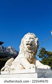 medici lion near Vorontsov (Alupka) Palace and Ai-Petri peaks, Crimea