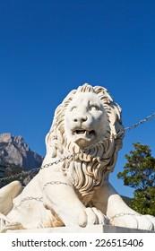 medici lion near Vorontsov (Alupka) Palace and Ai-Petri rock, Crimea