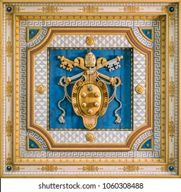 Medici Popes Coat of Arms in the ceiling of San Martino ai Monti Church in Rome, Italy. March-25-2018