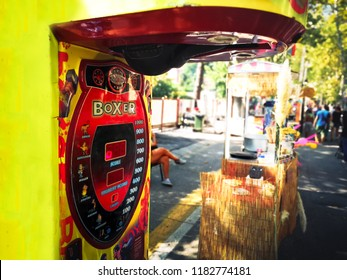 Medicina, Italy, 16 Sep 2018 - a punch boxing speed bag arcade punch ball machine on the street during the fair in luna park