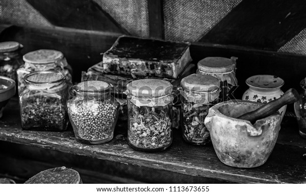 Medicinal Herbs Detail Traditional Medicine Witchcraft Stock Photo