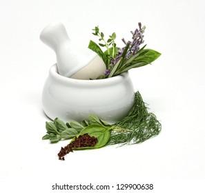 Medicinal Herbs in Pestle and Mortar