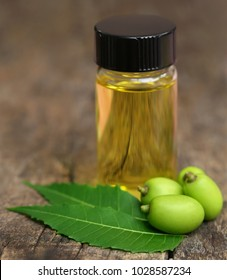 Medicinal neem leaves with essential oil in bottle on natural surface
