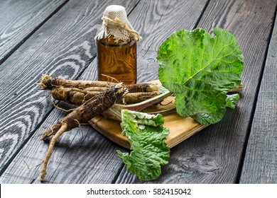 Medicinal plant burdock (Arctium lappa). The roots and leaves of burdock, burdock oil in bottle on wooden background. It is used for the treatment and care of hair
