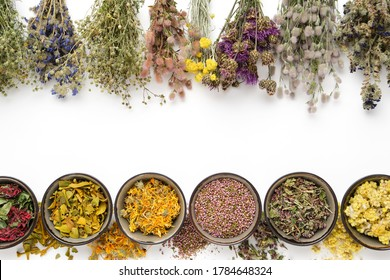 Medicinal plants bunches and row of bowls with dry medicinal herbs on white background. Top view, flat lay. Alternative medicine. Copy space for text.