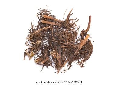 Medicinal plants. Dried valerian root (Rhizomata cum radicibus Valerianae) isolated on white background.