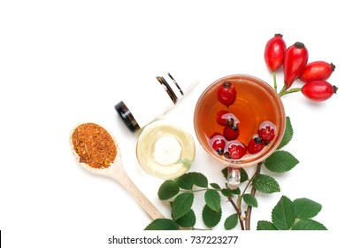 Medicinal plants and herbs composition: Dog rose, bunch branch Rosehips, types Rosa canina hips, essential oil. bunch, Tea with rosehip