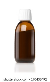 Medicine bottle of brown glass or Plastic isolated on white background, (clipping work path included).