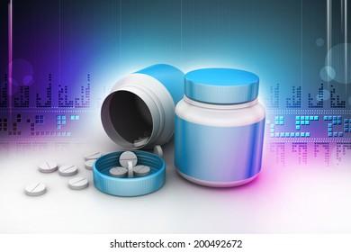 medicine bottle and pills