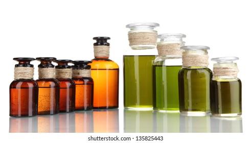 Medicine bottles isolated on white