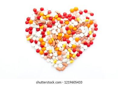 medicine capsules heart shaped