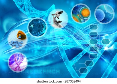 medicine and cells in an abstract scientific background