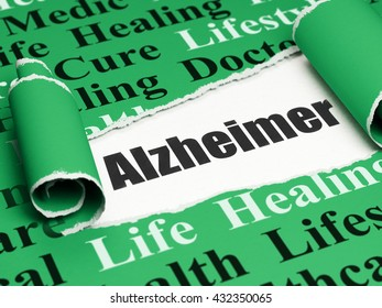 Medicine concept: black text Alzheimer under the curled piece of Green torn paper with  Tag Cloud, 3D rendering
