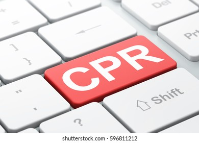 Medicine concept: computer keyboard with word CPR, selected focus on enter button background, 3D rendering