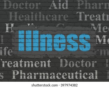 Medicine concept: Painted blue text Illness on Black Brick wall background with  Tag Cloud