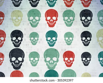 Medicine concept: Painted multicolor Scull icons on Digital Paper background, 3d render