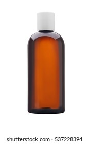 Medicine or cosmetic bottle of brown glass or Plastic with white cap isolated on white background